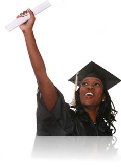 Happy woman graduating and holding diploma in the air