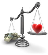 Scale with money on one side and a heart on the other
