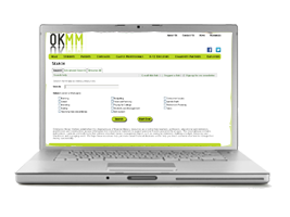 photo of a laptop displaying the OKMM Clearinghouse Home page